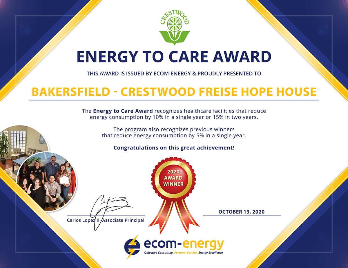 Energy to Care Award: Bakersfield - Crestwood Freise HOPE House