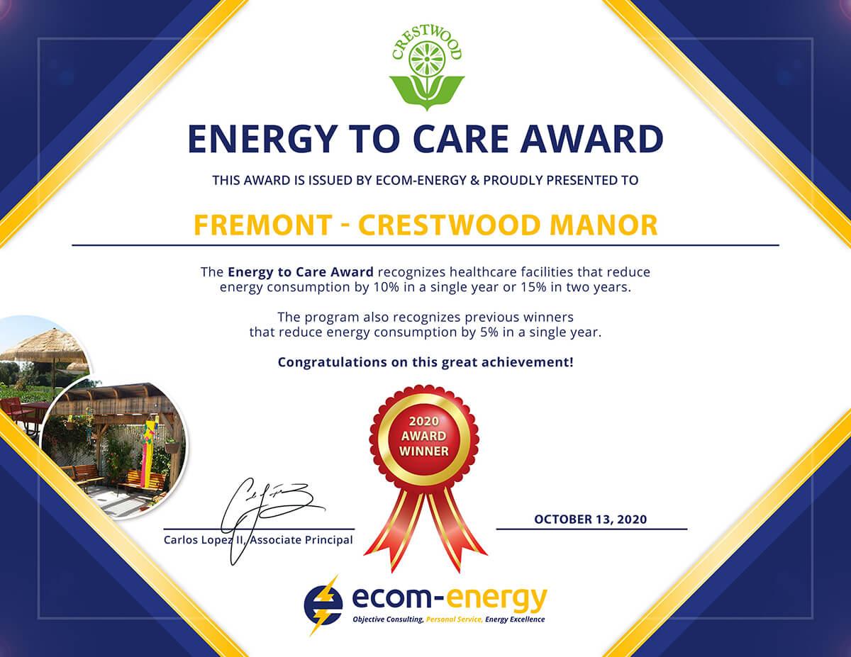 Energy to Care Award: Fremont - Crestwood Manor