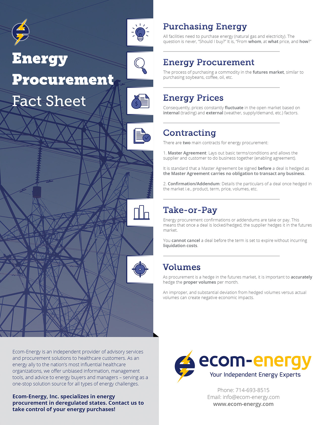 Ecom-Energy's Energy Procurement Fact Sheet