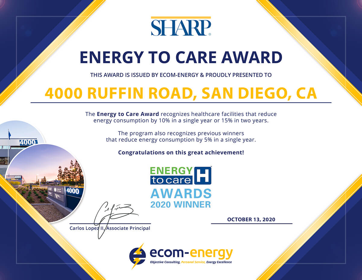 Energy to Care Award: Sharp HealthCare - 4000 Ruffin Rd.