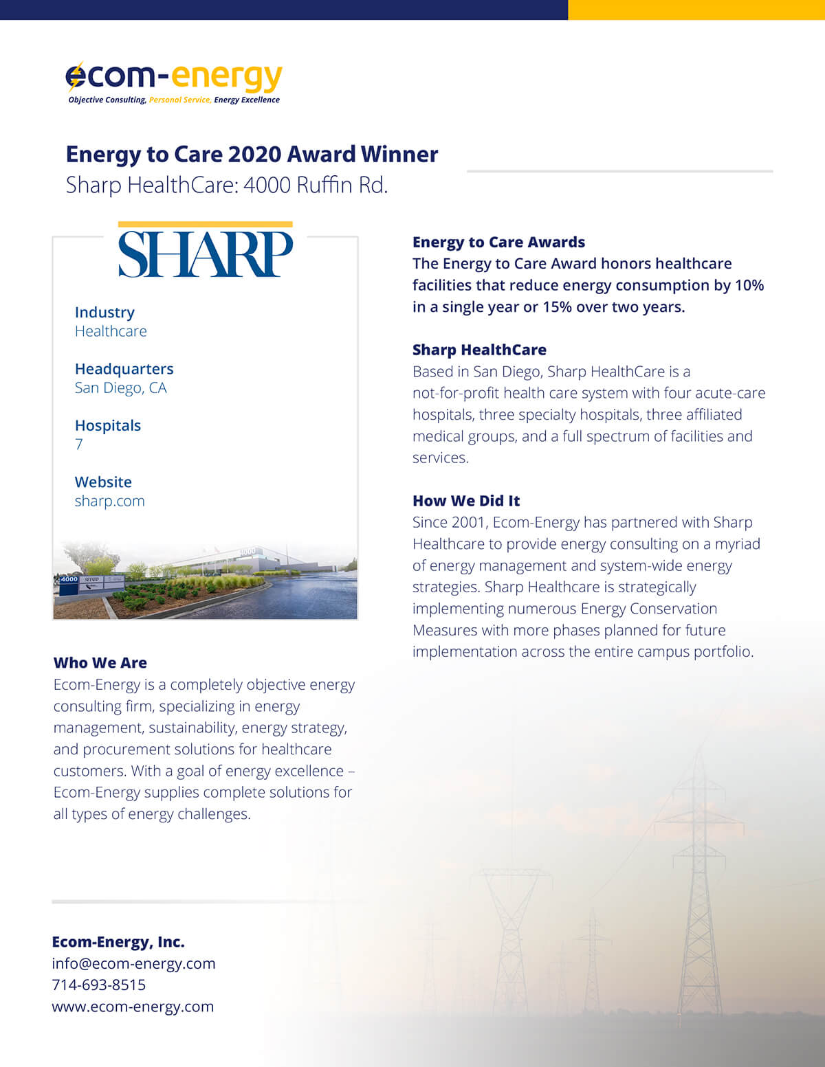 Energy to Care 2020 Award Winner Press Release